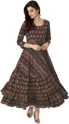 FabTag  - The Style Story Women Printed Anarkali Kurta(Blue, Red)