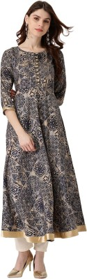 Libas Women Abstract Anarkali Kurta(Multicolor)