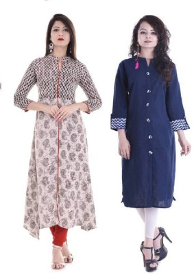 Stylum Casual Printed Women Kurti(Pack of 2, Black, Blue)