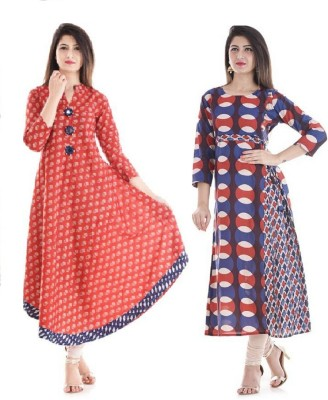Stylum Festive & Party Printed Women Kurti(Pack of 2, Red, Brown, White)