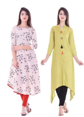 Stylum Casual Printed Women Kurti(Pack of 2, White, Green)