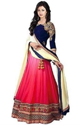 b8458d57d7 S.B Creation Embroidered Unstitched Lehenga, Choli and Dupatta Set(Pink)