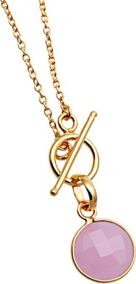 The Sparkle Story Rose Chalcedony 32x12mm Bezel Gold Plated Alloy Necklace  available at flipkart for Rs.319