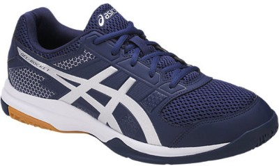 Asics GEL - ROCKET 8 - INDIGO BLUE/SILVER/WHITE Badminton Shoes For  Men(Blue, White)