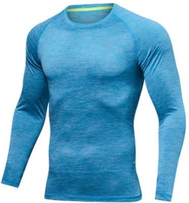 ZESTEEZ Solid Men Round Neck Blue T-Shirt