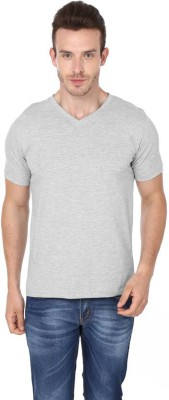Calvish Solid Men's V-neck Grey T-Shirt  available at flipkart for Rs.199