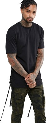 Stand Out Lace, Solid Men Round Neck Black T-Shirt