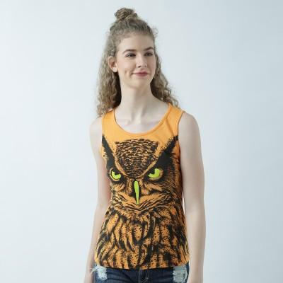 Huetrap Graphic Print Women Round Neck Orange T-Shirt