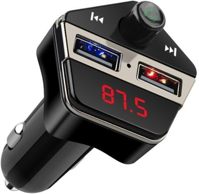 ShopyBucket FM Transmitter, Bluetooth Car Kit with GPS Locator, Wireless In-car Radio Adapter with Dual USB Car Charger and Hands Free Calling for iPhone, Android and other Smart Devices GPS Device(Black)