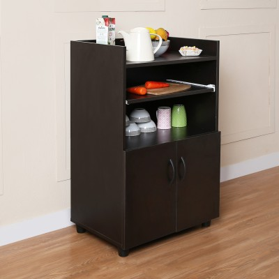 The Attic Solid Wood Crockery Cabinet(Finish Color - Light Walnut + Black)