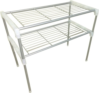 SYGA Kitchen Two layer Stainless Steel Organizer Rack Stainless Steel Kitchen Rack(Steel)