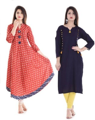 Stylum Festive & Party Printed Women Kurti(Pack of 2, Red, Blue, Yellow)