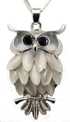 Indian Petals Big Pearl RhineStone studded Owl Design Fashion Jewellery Pendent Necklace with long Chain Silver Cubic Zirconia Alloy Pendant