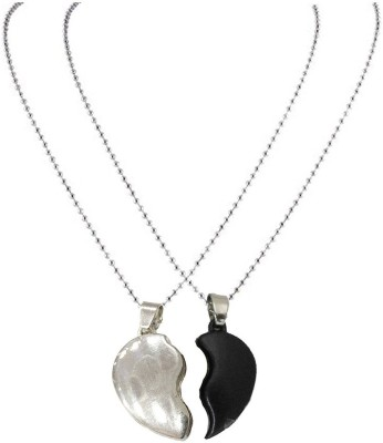 JaisBoy Best Gift For Friendship Day Gift Couple Heart Best Friend Cuff Black and Silver Love Two Hearts Couple Pendant Locket Chain For Boy and Girl Metal Locket  available at flipkart for Rs.250