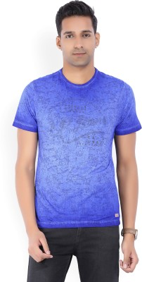 5fd78617be 40% OFF on LP Jeans by Louis Philippe Printed Men s Round Neck Blue T-Shirt  on Flipkart