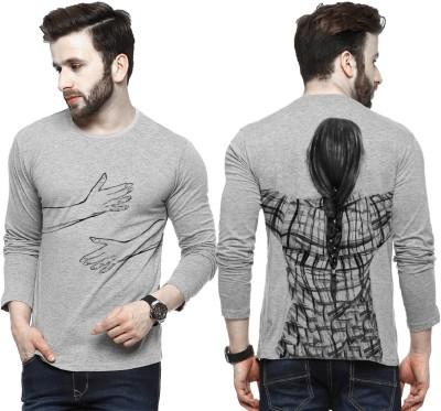 Tripr Printed Men Round Neck Grey T-Shirt