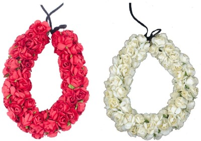 Majik Hair Style With Gajra (Veni) Hair Accessories For Women & Girls Hair Accessory Set(Red, White) Flipkart