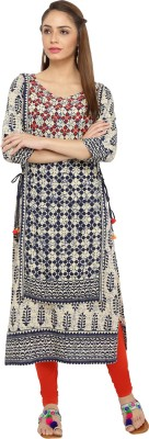 Gulmohar Jaipur Women Printed Straight Kurta(Beige)