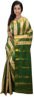 Avik Creations Paisley, Embroidered, Woven, Striped, Floral Print, Embellished, Self Design Kanjivaram Silk, Banarasi Silk, Poly Silk, Tissue Silk, Art Silk, Tissue Silk, Tussar Silk Saree(Green, Beige, Gold)