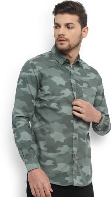 Highlander Men's Printed Casual Green Shirt