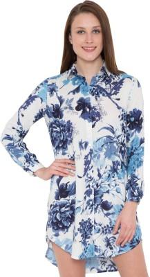 Hive91 Women Floral Print Casual Blue Shirt