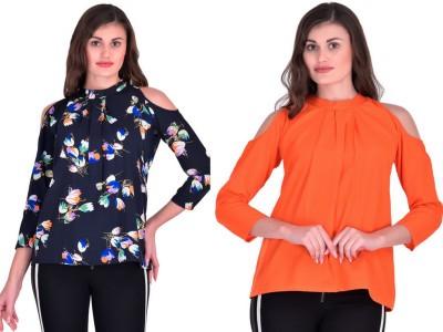 Stop Look Casual 3/4 Sleeve Printed Women Multicolor Top