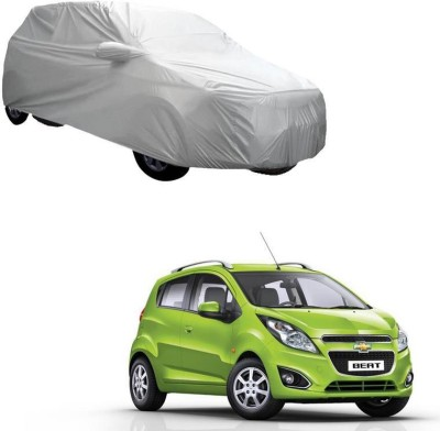 AdroitZ Car Cover For Chevrolet Beat (With Mirror Pockets)(Silver)