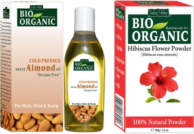 Indus Valley Organic Hibiscus Powder and Cold Pressed Almond Oil For Healthy Hair- Set of 2(Set of 2)  available at flipkart for Rs.379