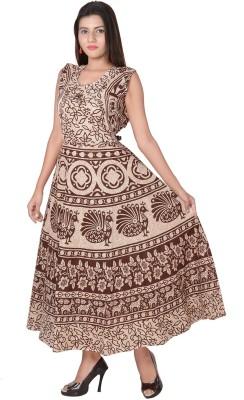 Jaipuri Fashionista Women Maxi Blue, Brown, Red, Purple, Blue, Green, Orange Dress
