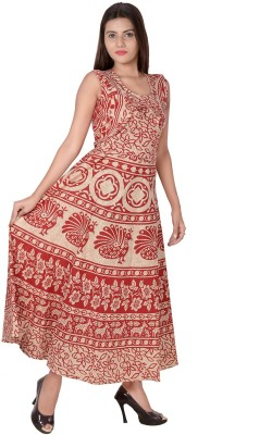 Jaipuri Fashionista Women Maxi Brown, Brown, Red, Green, Blue Dress