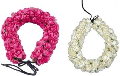 Majik Hair Gajra Hair Accessories For Women Hair Band(Pink, White)