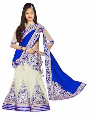 DREAMNOTE Baby Girls Lehenga Choli Fusion Wear, Western Wear, Party Wear Embroidered, Self Design, Solid Ghagra, Choli, Dupatta Set(Blue, Pack of 5)