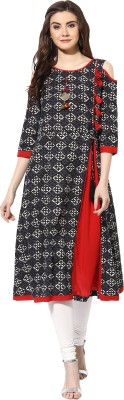 Mytri Printed Women's A-line Kurta(Black, Red)