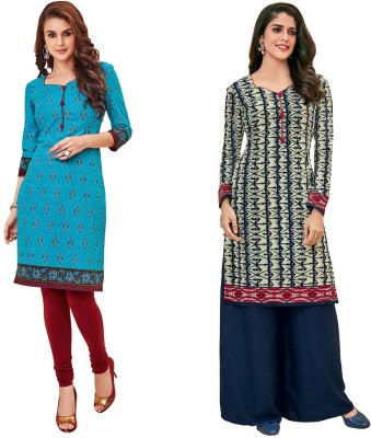 WEATHER CHANGER Casual Printed Women Kurti(Pack of 2, Multicolor)