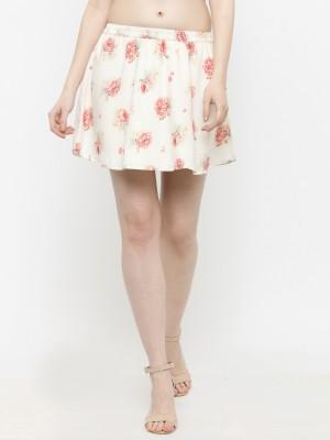 Sera Floral Print Women Flared White Skirt Sera Women's Skirts