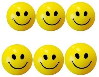 De Ultimate Cute Smiley Balls Stress Buster Pack of 6 Pcs   6 cm   6 mm Yellow De Ultimate Soft Toys