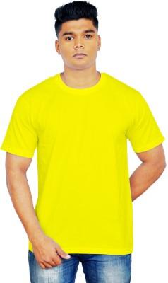 iTRENDII Solid Men's Round Neck Yellow T-Shirt