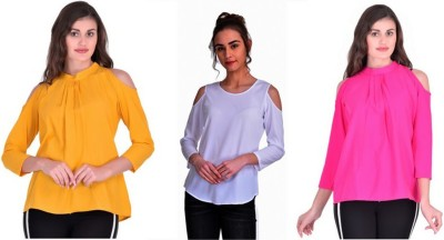 Stop Look Casual 3/4 Sleeve Solid Women Pink, Yellow, White Top