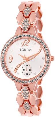 LOREM New LR215 Rose Gold Metal Diamond Studed Chronograph Pattern Bracelet Girls Watch  - For Women