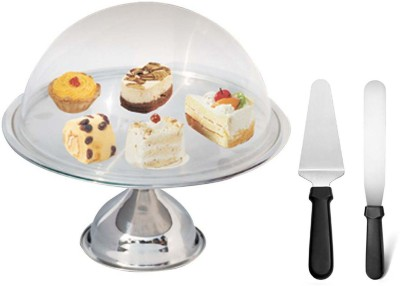 A-Plus Offset Spatula, Cake Stand With Glass Lid & Stainless Steel Cake Server(Steel)  available at flipkart for Rs.1399
