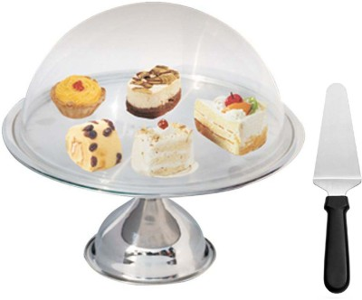 A-Plus Cake Stand With Glass Lid & Stainless Steel Cake Server(Steel, Pack of 3)  available at flipkart for Rs.1325