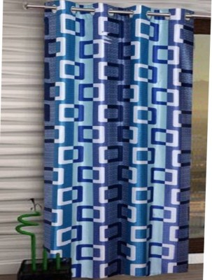 TrueValue Creations Polyester Door Curtain 212 Single Curtain(Geometric blue Printed curtains)  available at flipkart for Rs.191