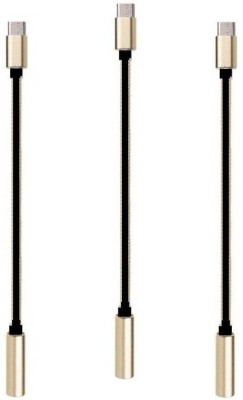 ReTrack SET OF 3PC Type-C to 3.5mm Female Jack Earphone USB C Type Cable(Black)