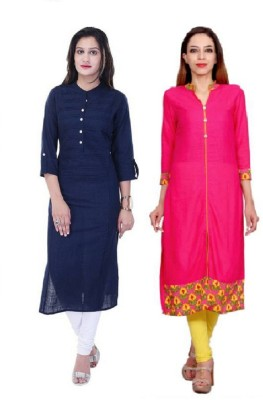 Stylum Casual Self Design Women Kurti(Pack of 2, Blue, Pink)