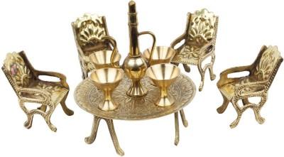 Chesta Enterprises Unique Design Dining Table Chair Maharaja Set Decorative Showpiece  -  5 cm(Brass, Brown)