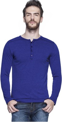 LEWEL Solid Men's Henley Blue T-Shirt