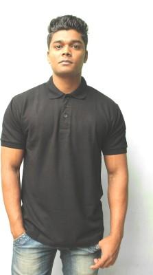 iTRENDII Solid Men's Polo Neck Black T-Shirt