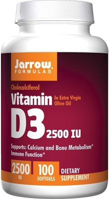 Jarrow Formulas Vitamin D3, 2500IU, 100 Softgels(100 No)