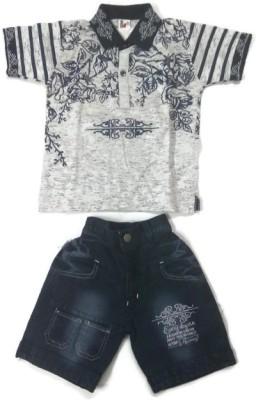 Kids World Boys Casual T-shirt Shorts(White)