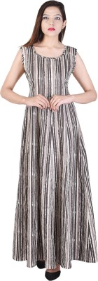 Desier Festive & Party Striped Women Kurti(Grey)
